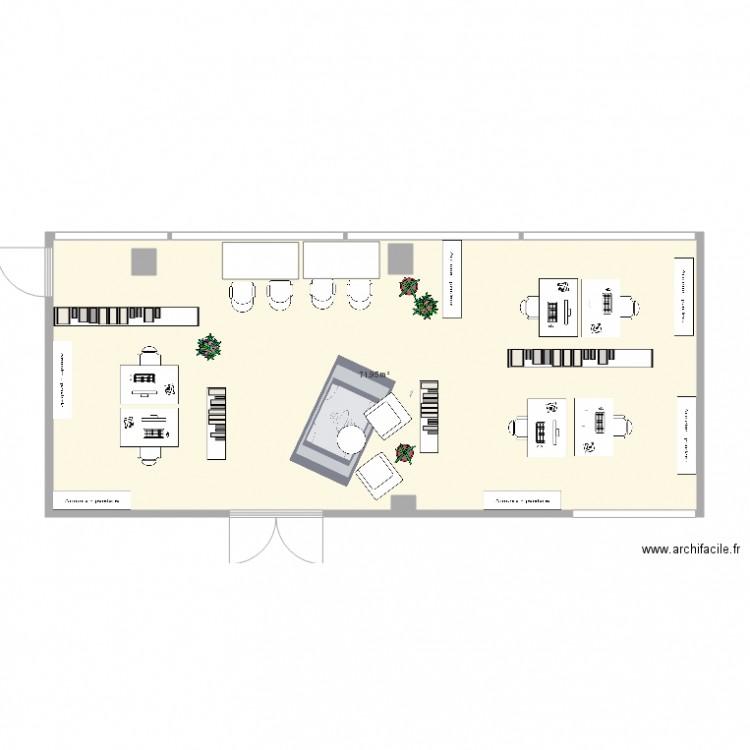 Bureau partag plan 1 pi ce 72 m2 dessin par vincent for Nombre de m2 par personne bureau