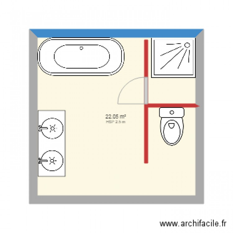 salle de bain plan 1 pi ce 22 m2 dessin par arimwenso. Black Bedroom Furniture Sets. Home Design Ideas