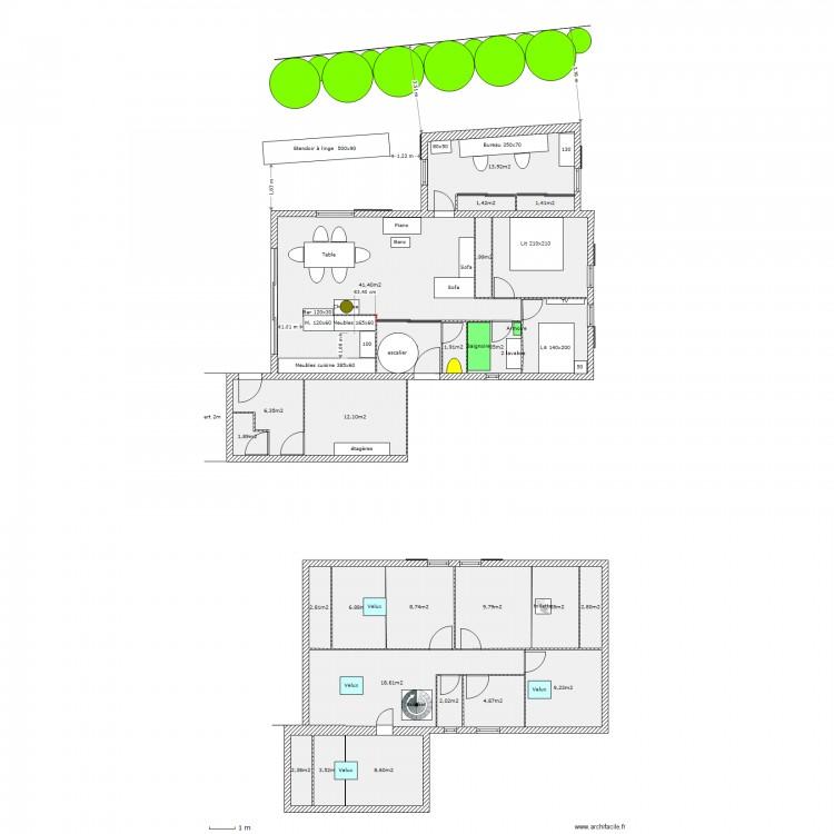 Projet bureau dans garage avec acces par cuisine plan for M2 par personne dans un bureau