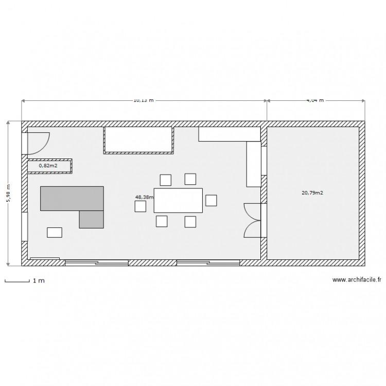 Projet maison terrain largeur 10m rdc plan 3 pi ces 70 for Plan petite maison 70 m2