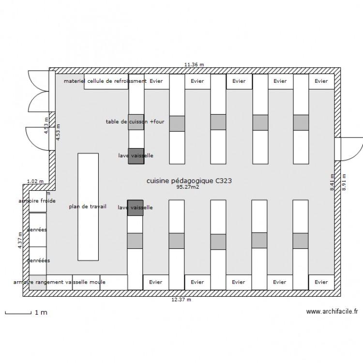 Projet cuisine p dagogique assp valadon plan 1 pi ce 95 m2 dessin par laurentduguet87 - Cuisine pedagogique ...