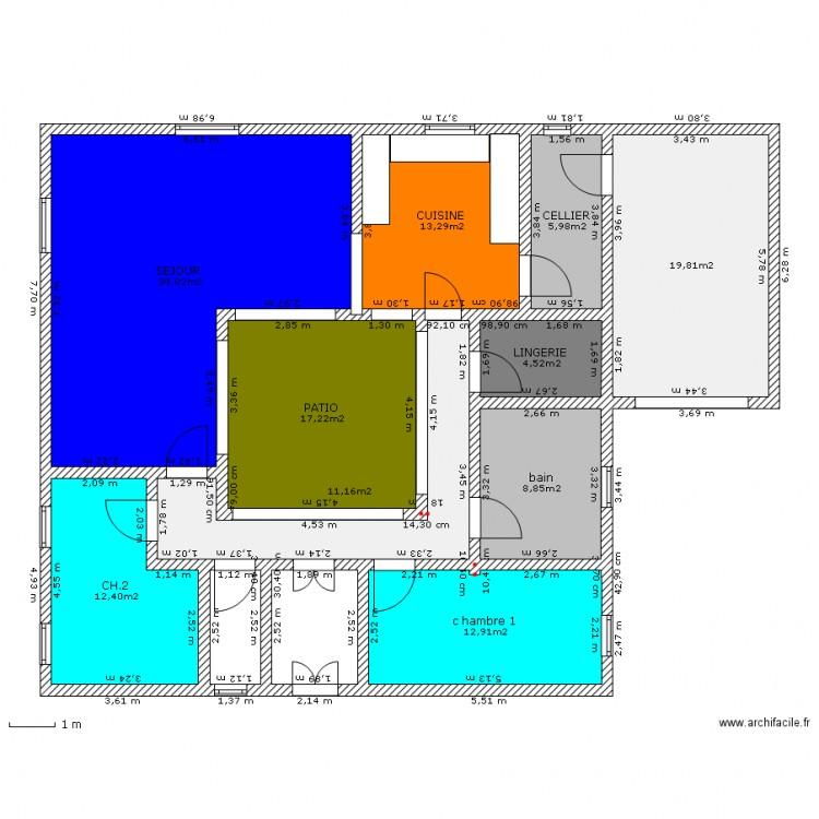 Maison avec patio 2 plan 10 pi ces 144 m2 dessin par france2 for Plan maison avec patio