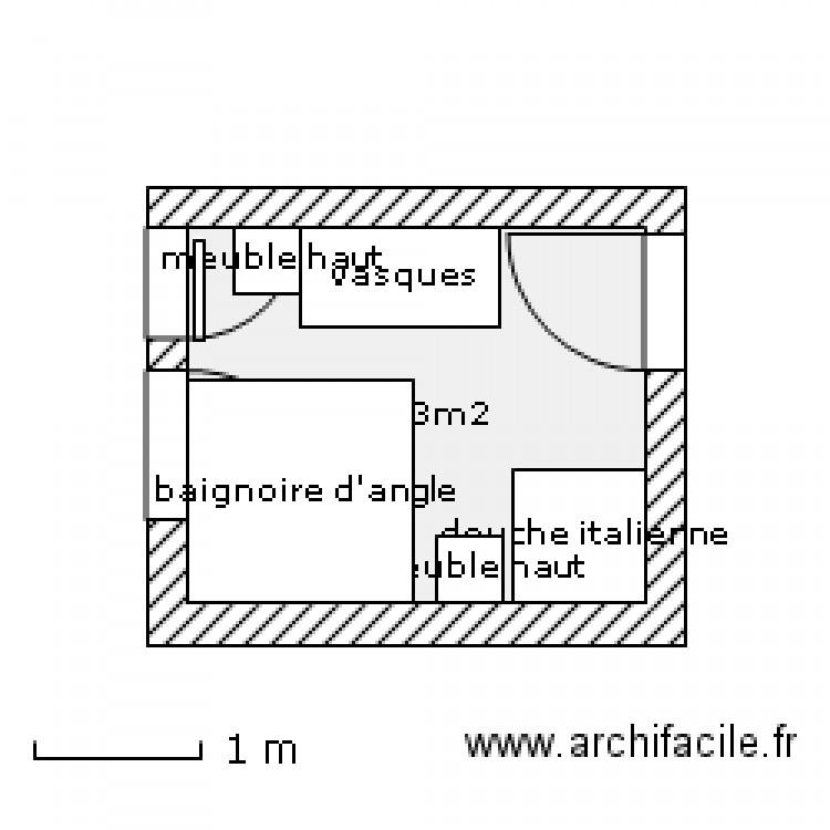 plan de salle de bain plan 1 pi ce 6 m2 dessin par barbebleu. Black Bedroom Furniture Sets. Home Design Ideas