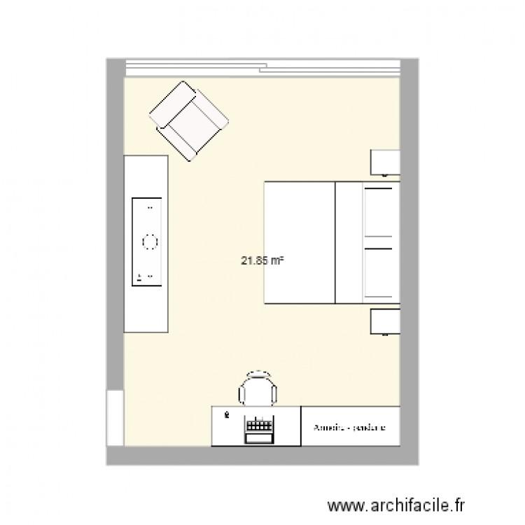 Chambre hugh plan 1 pi ce 22 m2 dessin par samfredriksson for Chambre one piece