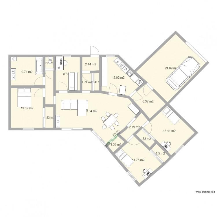 maison v plan 18 pi ces 149 m2 dessin par pejp. Black Bedroom Furniture Sets. Home Design Ideas