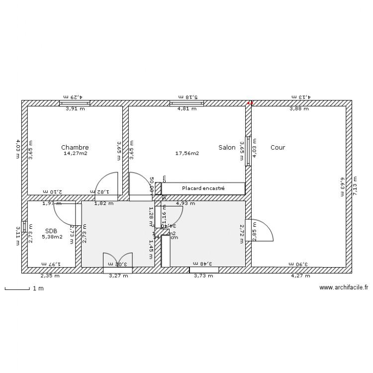 Plan maison de campagne plan 4 pi ces 55 m2 dessin par for Plan de maison 5 pieces