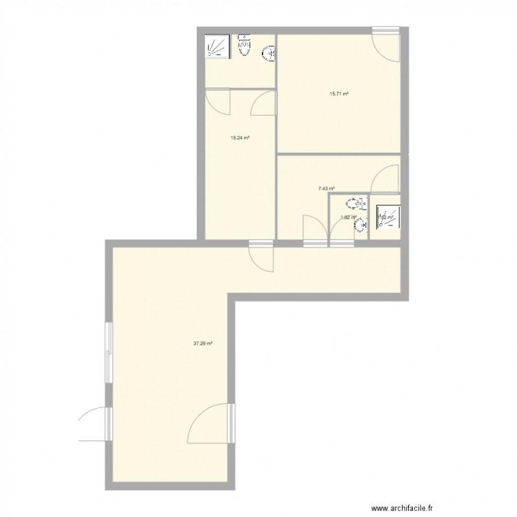 Bureau 3 plan 6 pi ces 79 m2 dessin par gaudard for Bureau petite taille