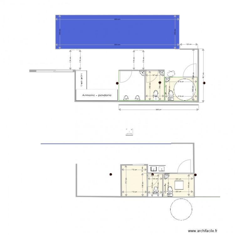 Wc derni re version avec piliers plan 6 pi ces 34 m2 dessin par leclosdeflorie - Wc petite taille ...