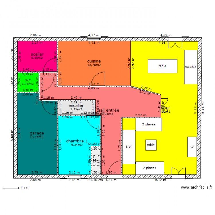 maison 12 metre de facade definitive 33 plan 9 pi ces 99 m2 dessin par psg77. Black Bedroom Furniture Sets. Home Design Ideas