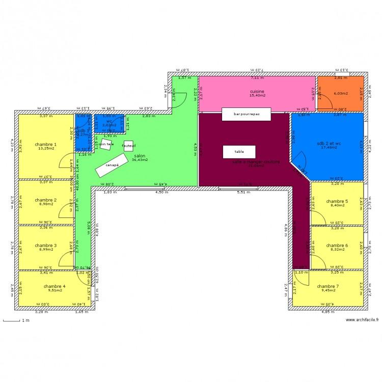 plan 1 maison conteneur plan 14 pi ces 178 m2 dessin par eveniise. Black Bedroom Furniture Sets. Home Design Ideas