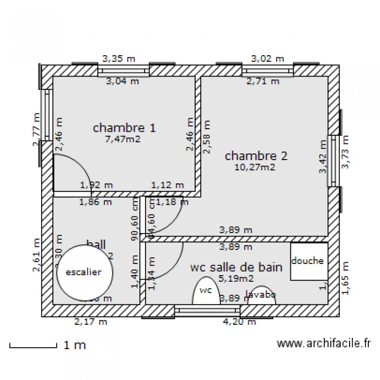 etage maison 60m2 plan 4 pi ces 27 m2 dessin par sodifas. Black Bedroom Furniture Sets. Home Design Ideas