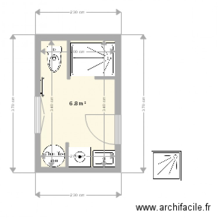 sdb 3 plan 1 pi ce 7 m2 dessin par autigny. Black Bedroom Furniture Sets. Home Design Ideas