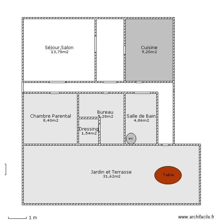 Plan d une maison avec jardin plan 7 pi ces 75 m2 for Pieces d une maison