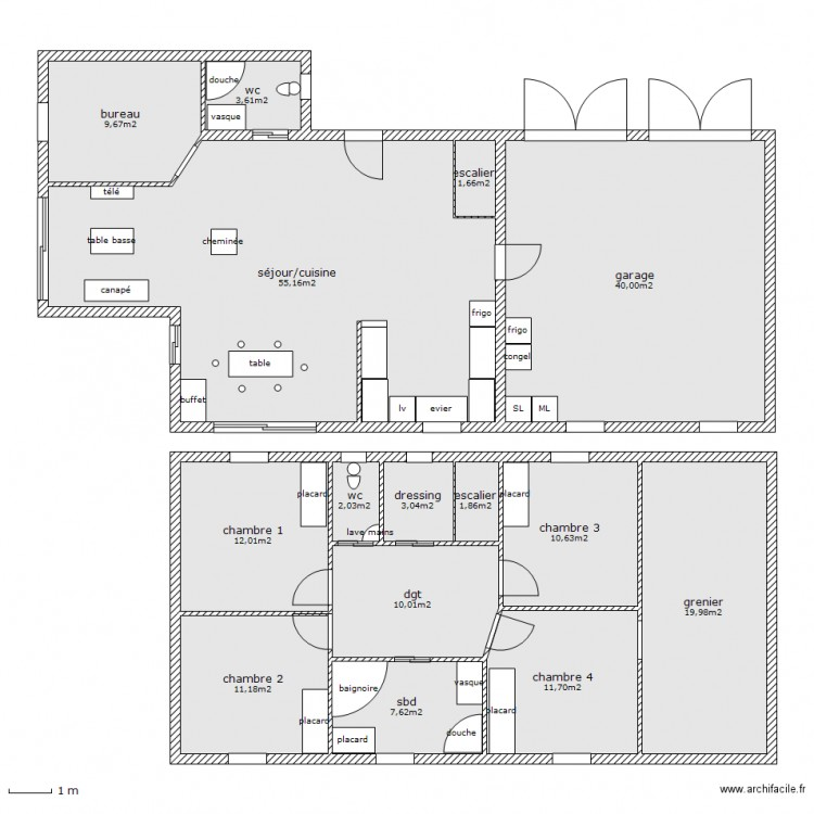 maison tage1 plan 15 pi ces 200 m2 dessin par manue43. Black Bedroom Furniture Sets. Home Design Ideas