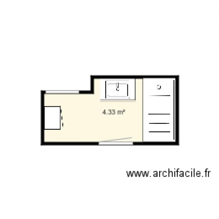 Salle de bain plan 1 pi ce 4 m2 dessin par fabrice pirard for Salle de bain 4 m2