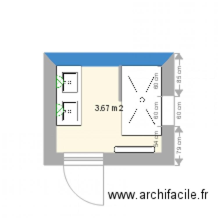 Salle de bain plan 1 pi ce 4 m2 dessin par bricoaix for Salle de bain 4 m2