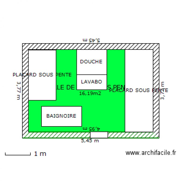 Salle de bain sous pente plan 1 pi ce 16 m2 dessin par alph for Plan salle de bain sous pente