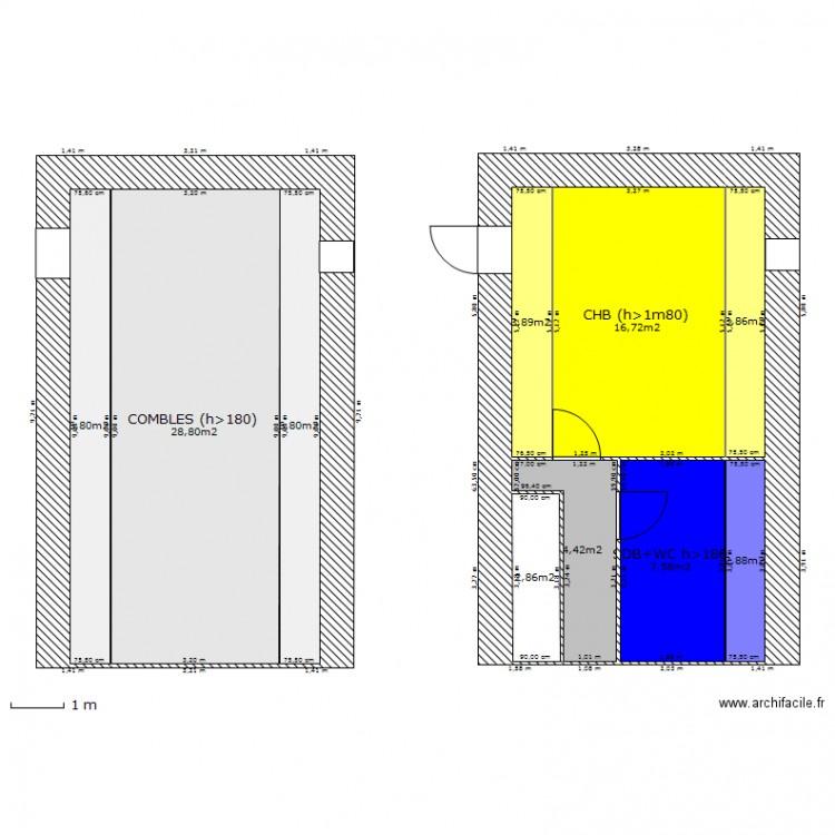 am nagement des combles plan 10 pi ces 85 m2 dessin par ganzcaro. Black Bedroom Furniture Sets. Home Design Ideas