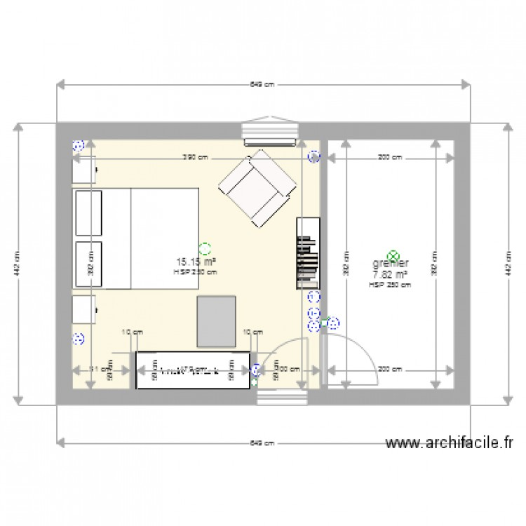 am nagement grenier plan 2 pi ces 25 m2 dessin par le ribault. Black Bedroom Furniture Sets. Home Design Ideas
