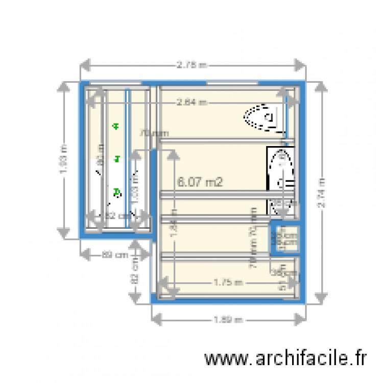 salle de bain plan 1 pi ce 6 m2 dessin par kikifr13. Black Bedroom Furniture Sets. Home Design Ideas