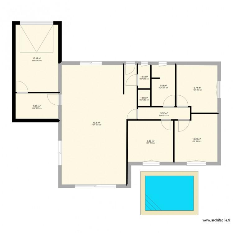 Maison 2 cuisine plan 10 pi ces 105 m2 dessin par for Taille moyenne maison