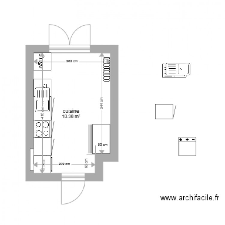 cuisine plan 1 pi ce 10 m2 dessin par belette65. Black Bedroom Furniture Sets. Home Design Ideas