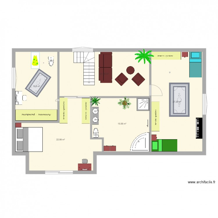 premier tage maison de r ve plan 5 pi ces 103 m2 dessin par emarques. Black Bedroom Furniture Sets. Home Design Ideas