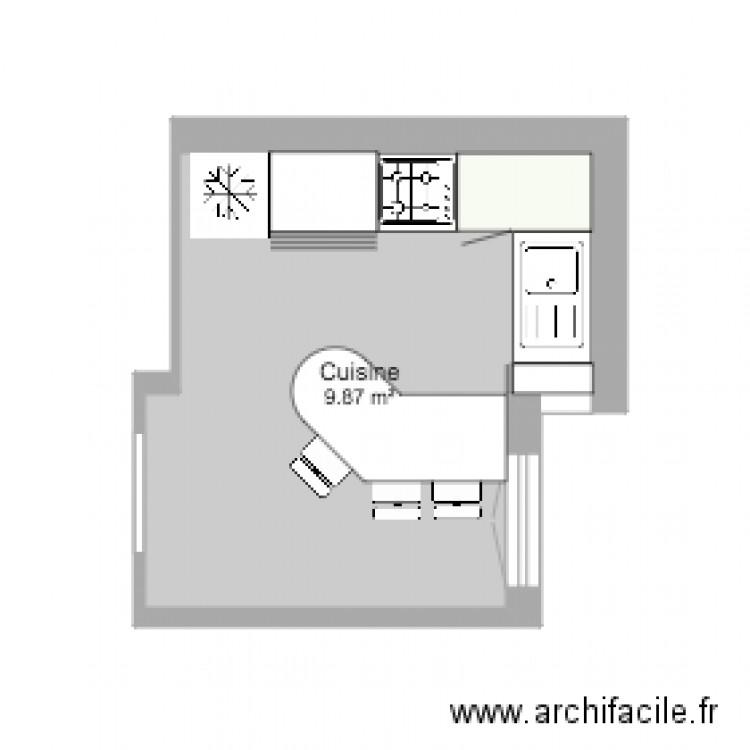 cuisine plan 1 pi ce 10 m2 dessin par linotte34. Black Bedroom Furniture Sets. Home Design Ideas