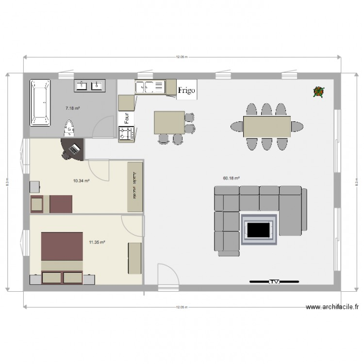 appartement t2 plan 4 pi ces 89 m2 dessin par laurine0123. Black Bedroom Furniture Sets. Home Design Ideas