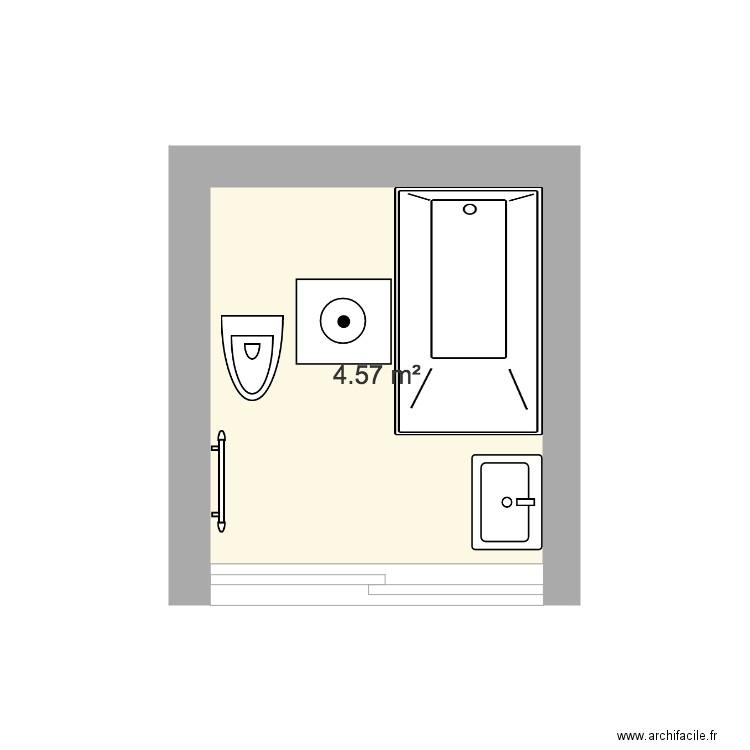 SdB 4m2 - Plan 1 pièce 5 m2 dessiné par damblard