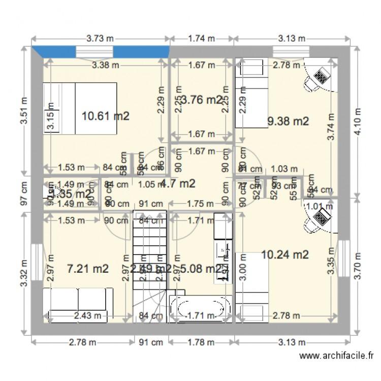 etage maison 100m vide plan 9 pi ces 55 m2 dessin par perm mama. Black Bedroom Furniture Sets. Home Design Ideas