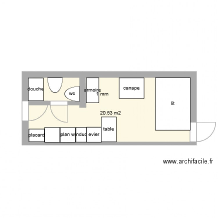 studio plan 1 pi ce 21 m2 dessin par peloc. Black Bedroom Furniture Sets. Home Design Ideas