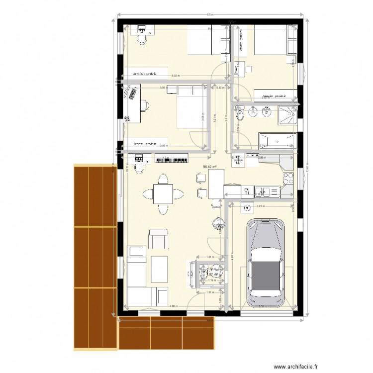 maison 2 plan 2 pi ces 99 m2 dessin par nathalie. Black Bedroom Furniture Sets. Home Design Ideas
