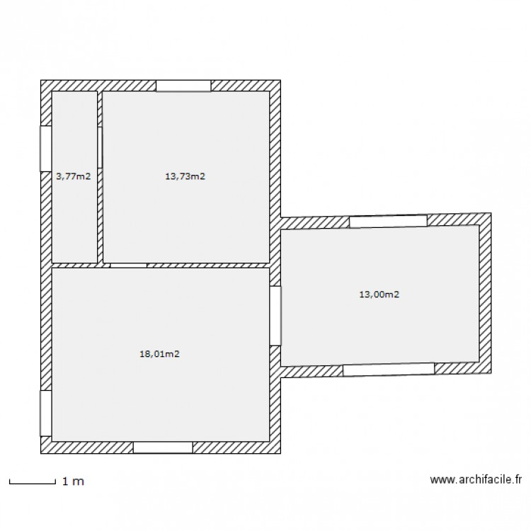 petite maison origine surface plan 4 pi ces 49 m2 dessin par algrape. Black Bedroom Furniture Sets. Home Design Ideas