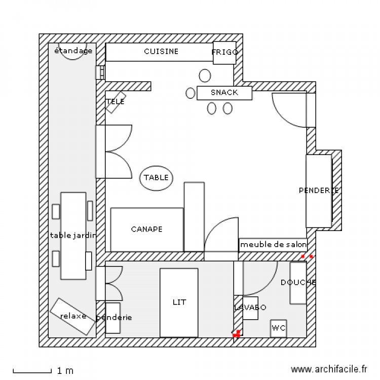Amenagement interieur plan 3 pi ces 46 m2 dessin par patrick1243 for Plan amenagement interieur