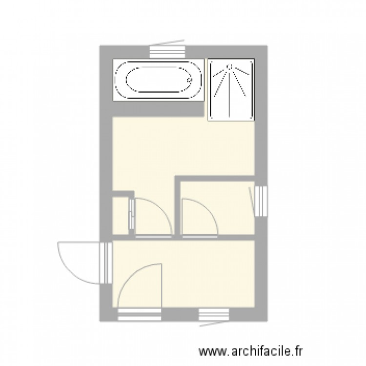salle de bain et wc appart haut plan 3 pi ces 12 m2. Black Bedroom Furniture Sets. Home Design Ideas