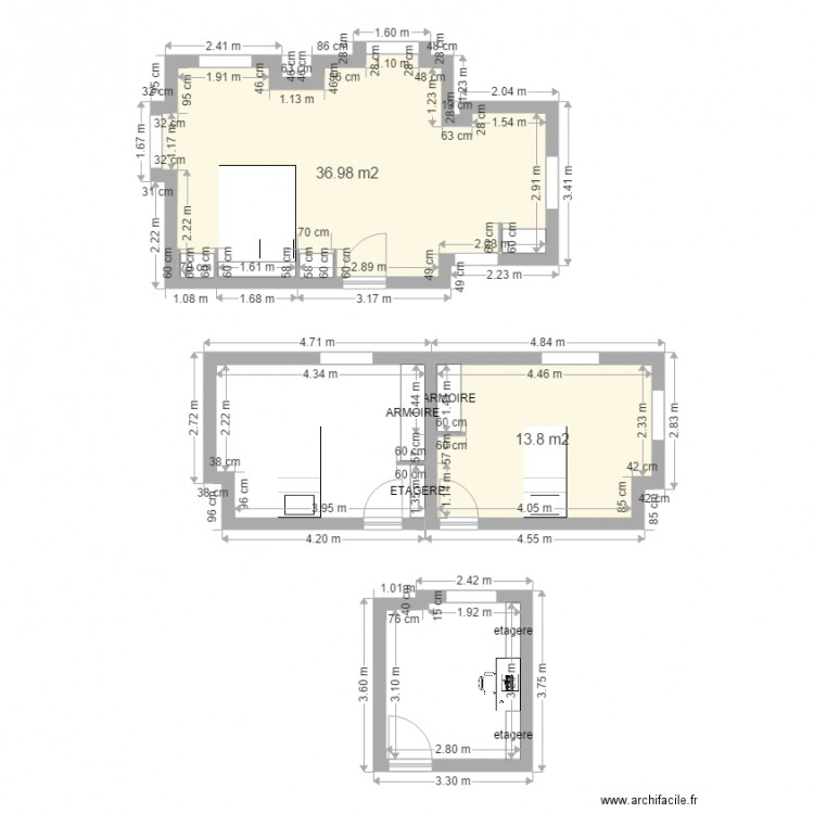 Maison des parents2 plan 2 pi ces 51 m2 dessin par aldonot77 - Plan de maison 2 pieces ...