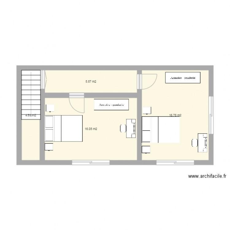 Extension 1er tage plan 4 pi ces 43 m2 dessin par adjou for Extension etage