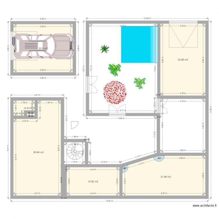 Ma maison plan 7 pi ces 107 m2 dessin par talinebenti for Plan de maison 5 pieces