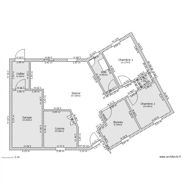 Maison en v plan 9 pi ces 103 m2 dessin par tonydelonge for Taille moyenne maison