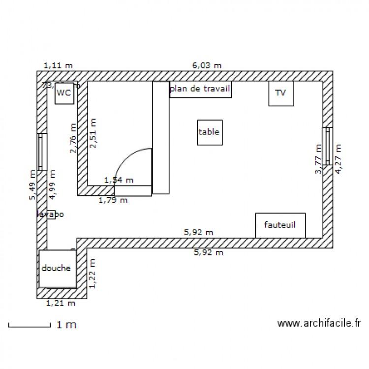 plan studio garage plan 1 pi ce 25 m2 dessin par stbernard. Black Bedroom Furniture Sets. Home Design Ideas