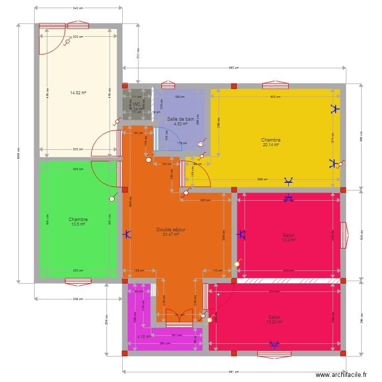 plan maison sans tirace avec electricite plan 9 pi ces. Black Bedroom Furniture Sets. Home Design Ideas