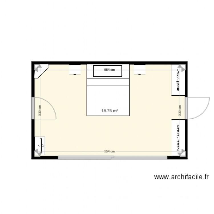 Chambre plan 1 pi ce 19 m2 dessin par fanfan 1002 for Chambre one piece