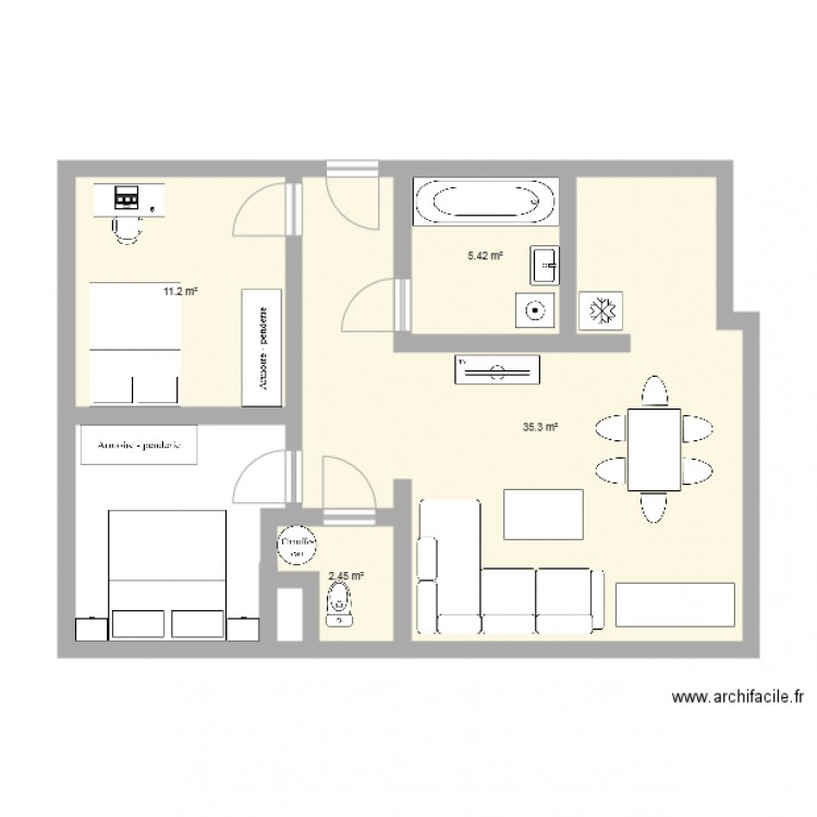 appartement plan 4 pi ces 54 m2 dessin par waheim. Black Bedroom Furniture Sets. Home Design Ideas