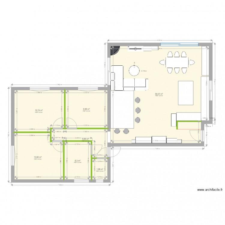 Plan maison 2 plan 7 pi ces 110 m2 dessin par cauet michel - Plan de maison 2 pieces ...