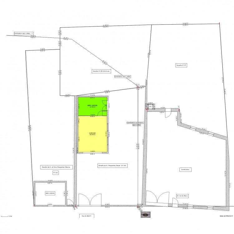 Plan masse abri jardin garage plan 2 pi ces 38 m2 dessin par kalou940 - Dessiner un plan de masse ...