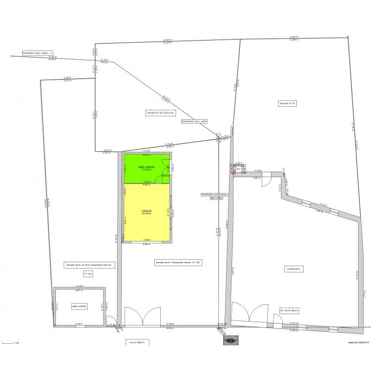 Plan masse abri jardin garage plan 2 pi ces 38 m2 dessin par kalou940 - Abri jardin grande taille ...