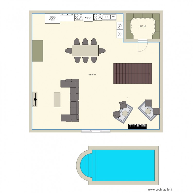 plan maison burt plan 2 pi ces 100 m2 dessin par malekaland. Black Bedroom Furniture Sets. Home Design Ideas