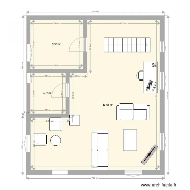 maison plan 3 pi ces 60 m2 dessin par marinann. Black Bedroom Furniture Sets. Home Design Ideas