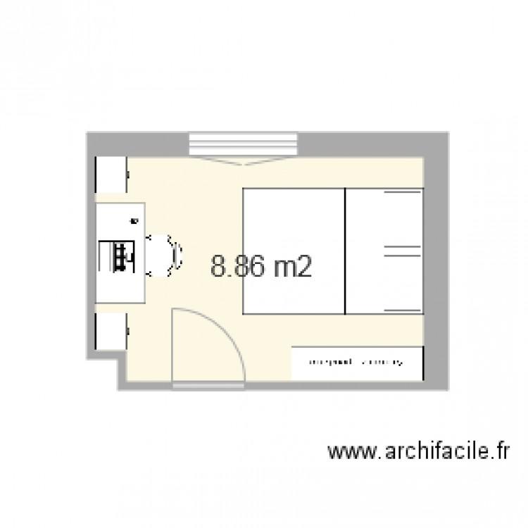 chambre lit double plein pied plan 1 pi ce 9 m2 dessin par lecuistre. Black Bedroom Furniture Sets. Home Design Ideas